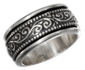 Sterling Silver 10mm Worry Ring with Swirls and Beaded Trim