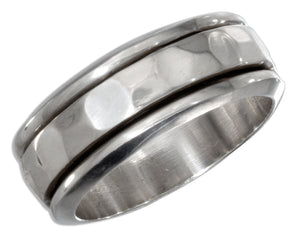 Sterling Silver Mens 9mm Worry Ring with Hammered Spinning Band