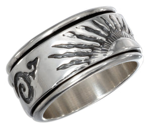 Sterling Silver Mens Worry Ring with Sunset Spinning Band