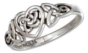 Sterling Silver Celtic Ring with Trinity and Heart Knots