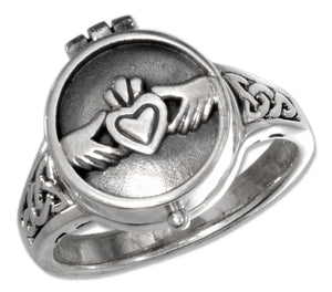 Sterling Silver Heart in Hands Poison Ring with Celtic Knots
