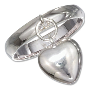 Sterling Silver High Polish Heart Charm Ring