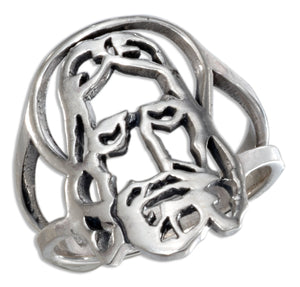 Sterling Silver Large Open Jesus Face Ring