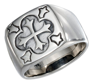 Sterling Silver Mens Square Ring with Cross