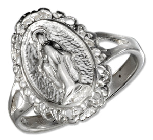 Sterling Silver Oval Virgin Mary Ring with Split Shank