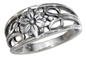 Sterling Silver Filigree Flower Band