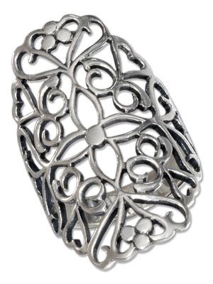 Sterling Silver Long Filigree Ring with Cross Pattern Center
