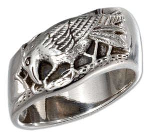 Sterling Silver Raven Ring