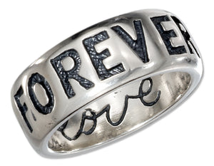 "Sterling Silver ""Forever Yours"" Band Ring (""i Love You"" Inside)"