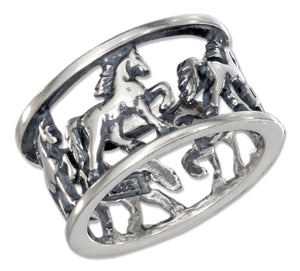 Sterling Silver Horses Open Band Ring