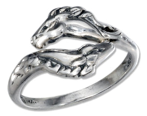 Sterling Silver Adjustable Horse Heads Bypass Ring