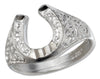 Sterling Silver Horseshoe Ring with Embossed Satin Finish
