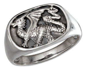 Sterling Silver Mens Oval Dragon Ring