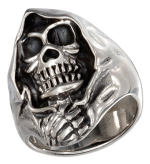 Sterling Silver Mens Hooded Skull Ring