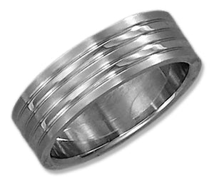 Stainless Steel 7mm High Polish Wedding Band with Brush Stripes