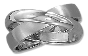 Stainless Steel Unisex Brushed and High Polish Double Band Ring