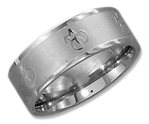 Stainless Steel 8mm Laser Etched Male Gay Pride Symbols Band