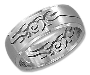 Stainless Steel Mens 8mm Brush Finish Tribal Cut-out Band