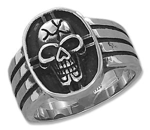Stainless Steel Mens Cracked Skull Ring
