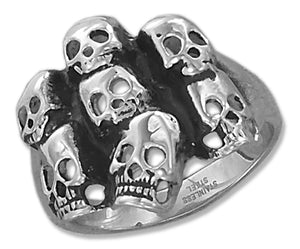 Stainless Steel Mens Antiqued Finish Multiple Skulls Ring
