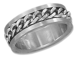 Stainless Steel Mens 8mm Curb Chain Spinner Band