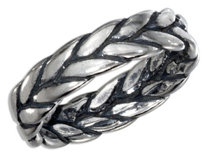 Sterling Silver Antiqued Braided Band Ring