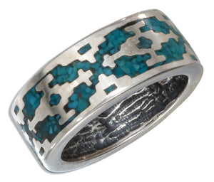 Sterling Silver Reconstituted Turquoise Aztec Unisex Band