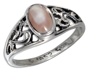 Sterling Silver Filigree Oval Pink Mussel Dome Ring