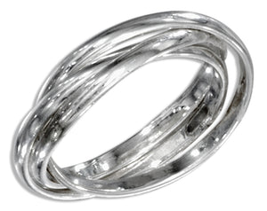 Sterling Silver 1.5mm High Polish Three Band Slide Ring
