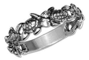 Sterling Silver Multiple Turtles Band Ring