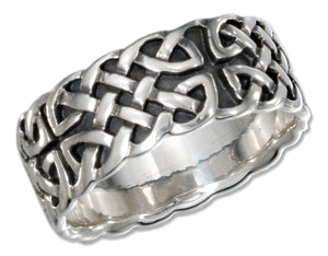 Sterling Silver Mens Antiqued Celtic Band Ring