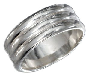 Sterling Silver High Polish Triple Lined Wedding Band Ring