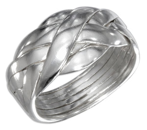 Sterling Silver High Polish Six Band Puzzle Ring