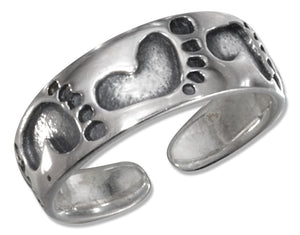 Sterling Silver Footprints Toe Ring
