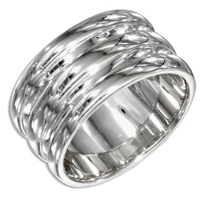 Sterling Silver High Polish One Piece Stack Ring
