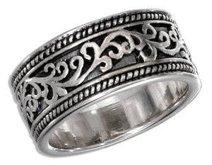 Sterling Silver 9mm Filigree Band Ring with Antiqued Inset