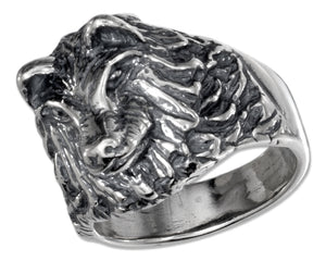 Sterling Silver Mens Wolf Head Ring