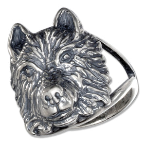 Sterling Silver Wolf Head Ring with Split Shank
