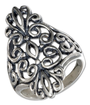 Sterling Silver Antiqued Long Filigree Ring