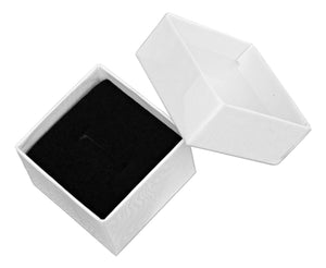 White Cardboard Ring Box with Velvet Insert 1 5/8 inch X 1 5/8 inch X 1 1/4 INCH