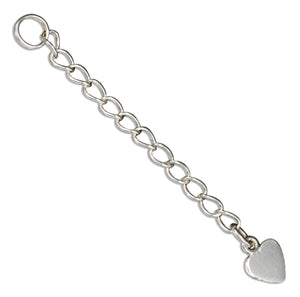 Sterling Silver 2 inch Curb Chain Extender with Flat Heart