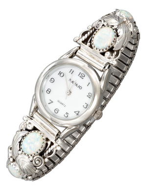 Sterling Silver Ladies Southwest Watch with Synthetic White Opals