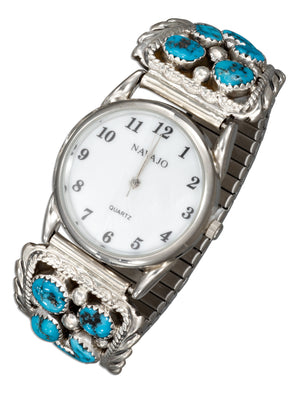 Sterling Silver Mens Southwest Watch with Stabilized Turquoise Nugget Tips