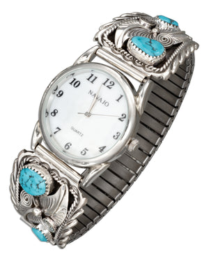 Sterling Silver Mens Southwest Stretch Band Watch with Stabilized Turquoise Nuggets