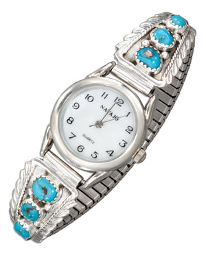 Sterling Silver Ladies Southwest Watch with Stabilized Turquoise Nugget Tips