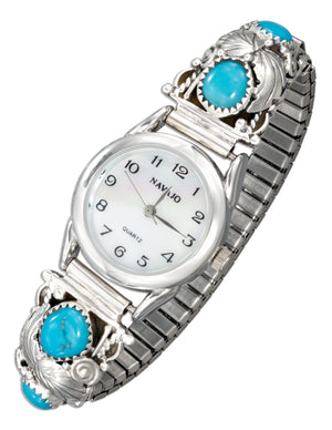 Sterling Silver Ladies Southwest Stabilized Turquoise Nuggets Stretch Band Watch