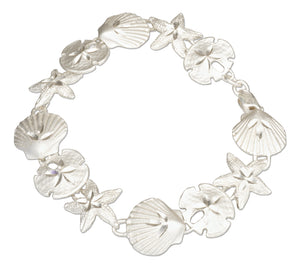 Sterling Silver 8 inch Assorted Sea Shell Link Bracelet