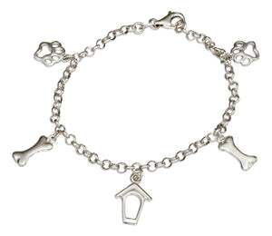 Sterling Silver 7.5 inch Rolo Charm Bracelet with Dog House, Bone and Paw Print