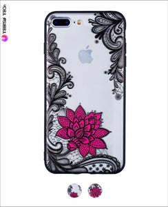 Printed Lace & Rose Transparent Soft Case Iphone Cases