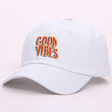 White Good Vibes Dad Hat